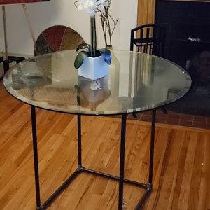 Beautifully Industrial Hand Crafted Glass Table